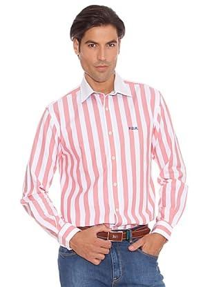 PEDRO DEL HIERRO Camisa Rayas Bordado (coral / blanco)