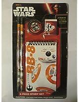 Star Wars 5 Pc Study Set: 2 Pencils, 1 Pencil Sharpener, 1 Eraser & 1 Notepad (BB-8)
