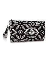 Kroo Paisley Designed Wristlet Clutch Wallet for 6-Inch Phones - Non-Retail Packaging - Black and White