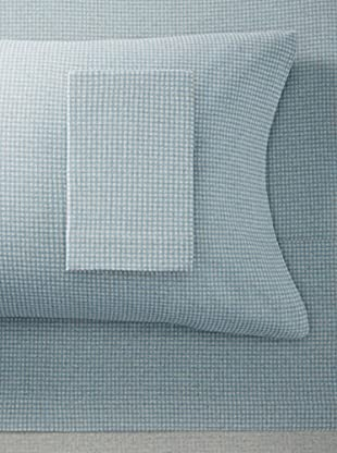 La Rochelle Blue Flannel Gingham Sheet Set (Blue)