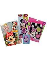 Minnie Mouse Christmas Holiday Set 4 Items:Merry And Brght Coloring Book, Towner Puzzle, Scratch And Reveal Craft, 8 Pack Of Crayons