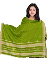 Exotic India Shawl from Kutch with Embroidered Flowers and Mirrors - Color PeridotColor Free Size