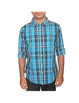 Benetton Men's Cotton Shirt (Blue_42)