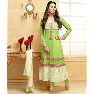 karishma kapoor Opulent Green Anarkali Suit With Long Sleeves