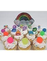 Disney Pixar INSIDE OUT 18 Piece Birthday CUPCAKE Topper Set Featuring Rileys 5 Emotions Joy, Sadnes