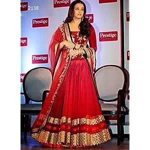 Bollywood Replica Aishwarya Rai Net and Velvet Lehenga In Red Colour NC619