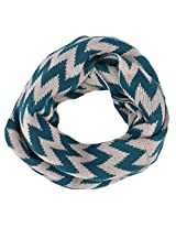 Simplicity Light Weight Multi Color Infinity Scarf with Chevron Print, Blue