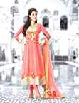 Peach Anarkali Unstitched Suit