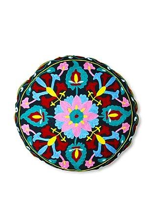 Modelli Creations Hand Embroidered Crewel Work Floor Pillow (Black/Pink)