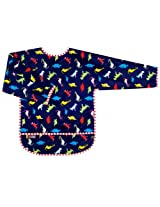 Taffeta Waterproof Bib With Sleeves | Dino Navy Size , 2-4 Years