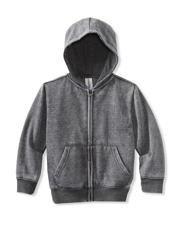 Colorfast Apparel Boy's Burnout Zip Hoodie (Black)