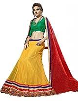 Suchi Womens Net Lehenga Dress Material (Sfran90126 _Yellow _Free Size)