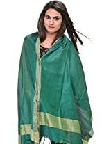 Exotic India Plain Dupatta from Jharkhand with Woven Stripes on Border - Color Ivy GreenColor Free Size