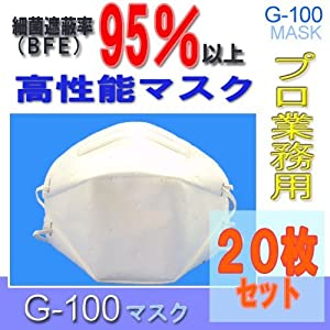 耳が痛くならない 「微粒子用マスク」高機能密着立体タイプマスク G-100 BOXタイプ 20枚入り N95規格クリアレベル 防護マスク サージカルマスク ストック用にも! n98 DS2相当品 防護マスク(防塵・防じん)