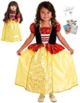 Little Adventures Snow White Princess Dress Size 7 9 With Doll Dress, Hairbow & Coloring Book