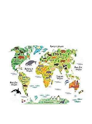 LO+DEMODA Wandtattoo Map Animals