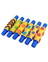PIGLOO Foam Stamps Rolling Pin, 6 Piece Set (Random Colors)