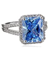 "Myia Passiello ""Cocktail Ring"" Emerald Cut Swarovski Zirconia Fancy Blue Ring, Size 7"