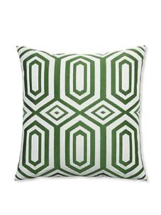"""Peking Handicraft Hexagon Embroidered Linen Pillow, Green, 20"""" x 20"""""""