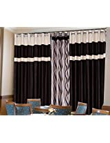 TDecor, Fancy polyester, set of 3,Door curtains, 4ft *7ft,Brown Crush PLain