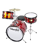 Mendini MJDS-3-BR 16-inch 3-Piece Bright Red Junior Drum Set with Cymbals, Drumsticks and Adjustable