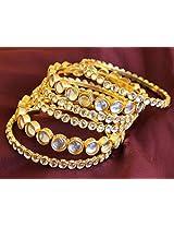 Kundan Gold Plated 6 Pc Bangle Set