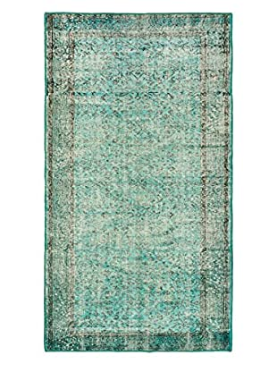 eCarpet Gallery One-of-a-Kind Hand-Knotted Anatolian Rug, Cyan, 3' 6