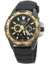 Casio Men''s MTD1069B-1A1 Round Analog Black and Red Dial and Black Resin Strap Watch