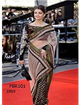 Bollywood Replica Aishwarya Rai Raavan Promo Saree With Black Net Palla