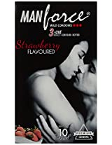 Manforce 3 in 1 Wild Ribbed Contour Dotted Condoms - Strawberry Flavoured (Pack of 10)
