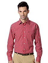 Allen Solly Red Checkered Slim Fit Shirt