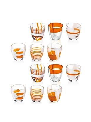 Guzzini Set 12 Bicchierini Liquore Table Art Arancio