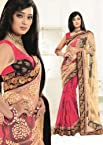 Light Yellow and Shades of Pink Colour Half Tissue Brasso and Half Georgette Material Designer Sarees : Womaniya Collection - YF-16548