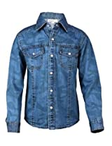 Shoppertree Blue Print Denim Boys Shirt