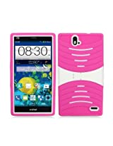 Aimo Wireless Armor 3 in 1 Protective Case with Stand for ZTE Grand X Max Z787/Max+ Z798 - Retail Packaging - Hot Pink/White