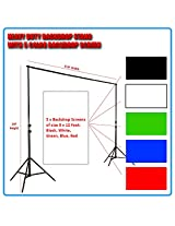 Heavy Duty Professional Grade Backdrop cum Light Stand of 14Feet Height w 5 Color Backdrop Screen: Black, White, Red, Blue, Green, Blue of 8x12F [ GizmoGrid ]