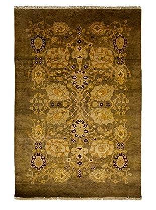 Darya Rugs Traditional Oriental Rug, Olive, 4' x 5' 10