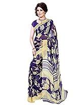 Riti Riwaz Blue & Beige saree with unstitched blouse RVL332B