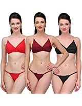 Urbaano Captivating Bikini set - UR7096T - Red , Black & Maroon (36)