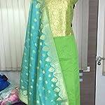 Green Banarasi Dress Material With Dupatta