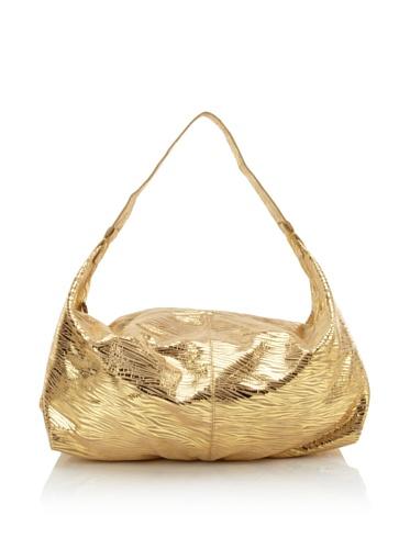 Carlos Falchi Women's Zebretta Slim Hobo (Gold Tan)