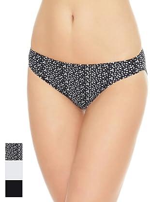 Princesa Pack x 3 Braguitas Bikini Poliamida (Negro / Blanco / Estampado)