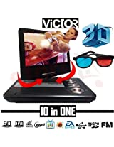 3D Victor Portable DVD Player with 7.5 Inch Led Screen HD Games 3D Sunglass