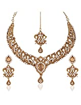 I Jewels Traditional Gold Plated Elegantly Handcrafted Stone Necklace Set with Maang Tikka & Earrings for Women M4049LW (Gold)