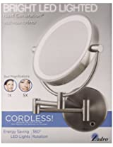 Zadro Satin Nickel Cordless Led Lighted Wall Mount Mirror, 5X / 1X Magnification