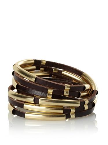Linea Pelle Tribal Sliced Double Wrap Bracelet, Dark Chocolate