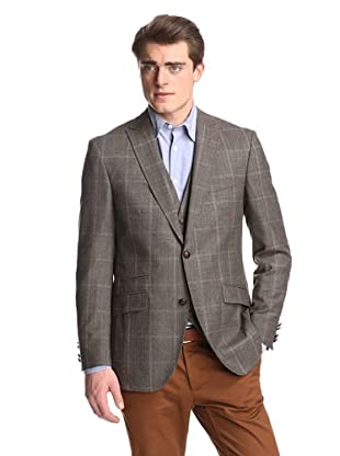 Without Prejudice Men's Plaid Sport Coat (Brown)