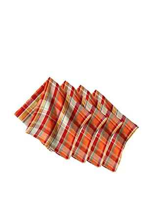 Couleur Nature Set of 4 Laundered Linen Madras Napkins, Plaid