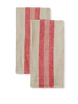 Found Object Lorient Set of 2 Linen/Cotton Kitchen Towels (Red/Khaki)