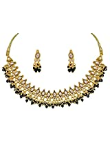 Surat Diamond Black and White Stones and Gold Plated Choker Necklace & Earring Set for Women (SJK325)